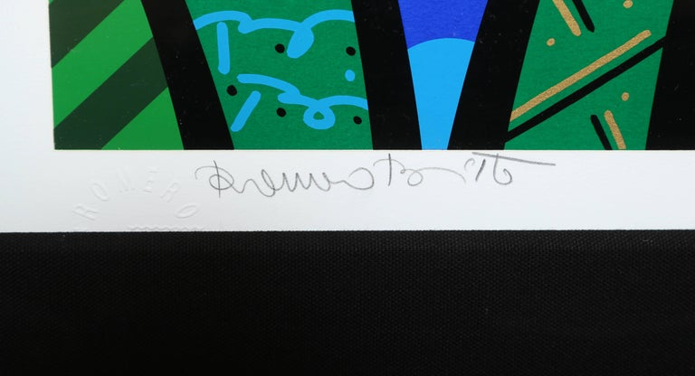 Behind the Bushes, Limited Edition Art Serigraph by Romero Britto In Excellent Condition For Sale In Stamford, CT