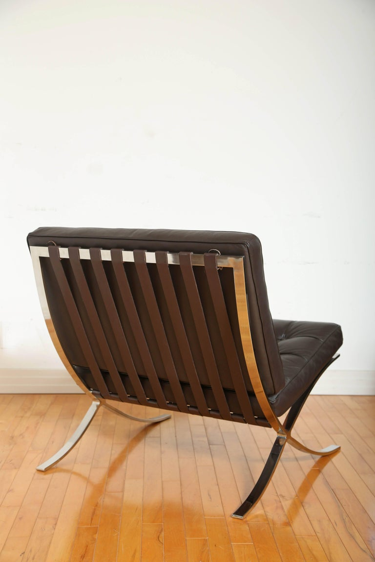 Hand-Crafted Iconic Barcelona Lounge Chair by Mies van der Rohe For Sale