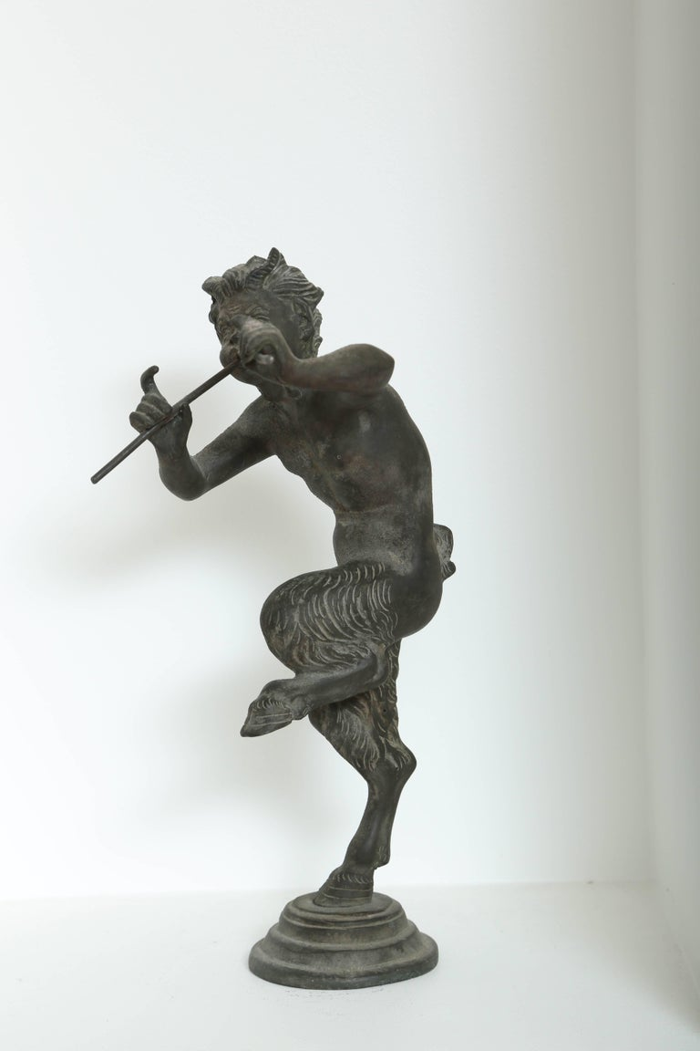 Classical Greek 19th Century Antique Bronze Sculpture of Pan the Mythological God For Sale