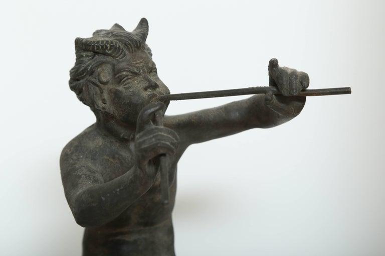 Cast 19th Century Antique Bronze Sculpture of Pan the Mythological God For Sale