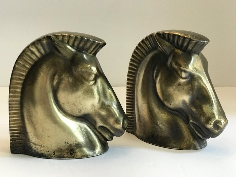 Pair of Art Deco Brass Plated Trojan Horse Bookends by Frankart For Sale 9