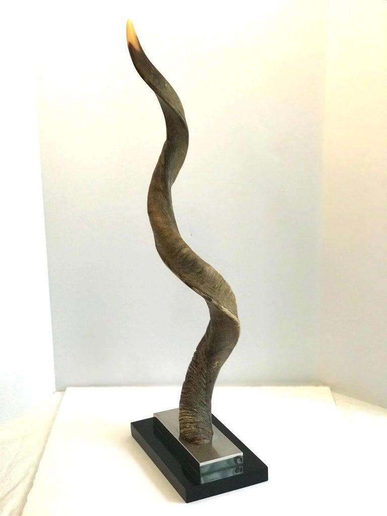 Vintage African Kudu Horn Sculpture on Stand For Sale 12