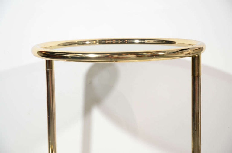 Hollywood Regency Brass and Smoked Glass Side Table with Swivel Tier For Sale 2