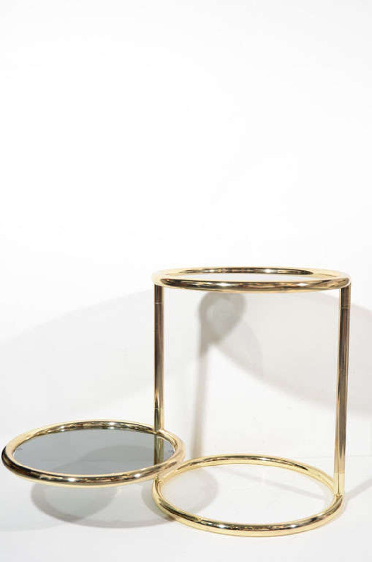 American Hollywood Regency Brass and Smoked Glass Side Table with Swivel Tier For Sale
