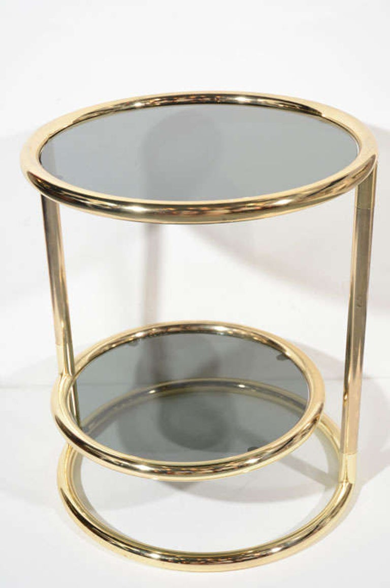 Hollywood Regency Brass and Smoked Glass Side Table with Swivel Tier In Good Condition For Sale In Stamford, CT