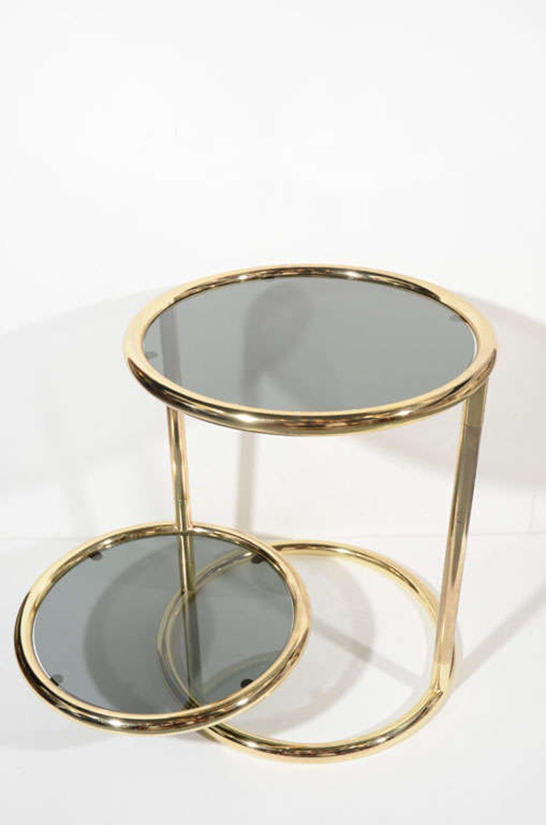 Late 20th Century Hollywood Regency Brass and Smoked Glass Side Table with Swivel Tier For Sale