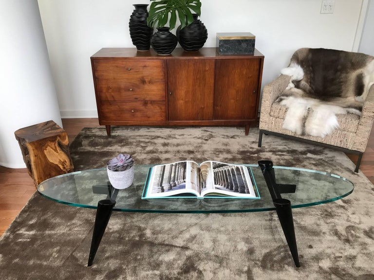 Danish Mid-Century Modern Narrow Elliptic Coffee Table with Tapered Legs For Sale