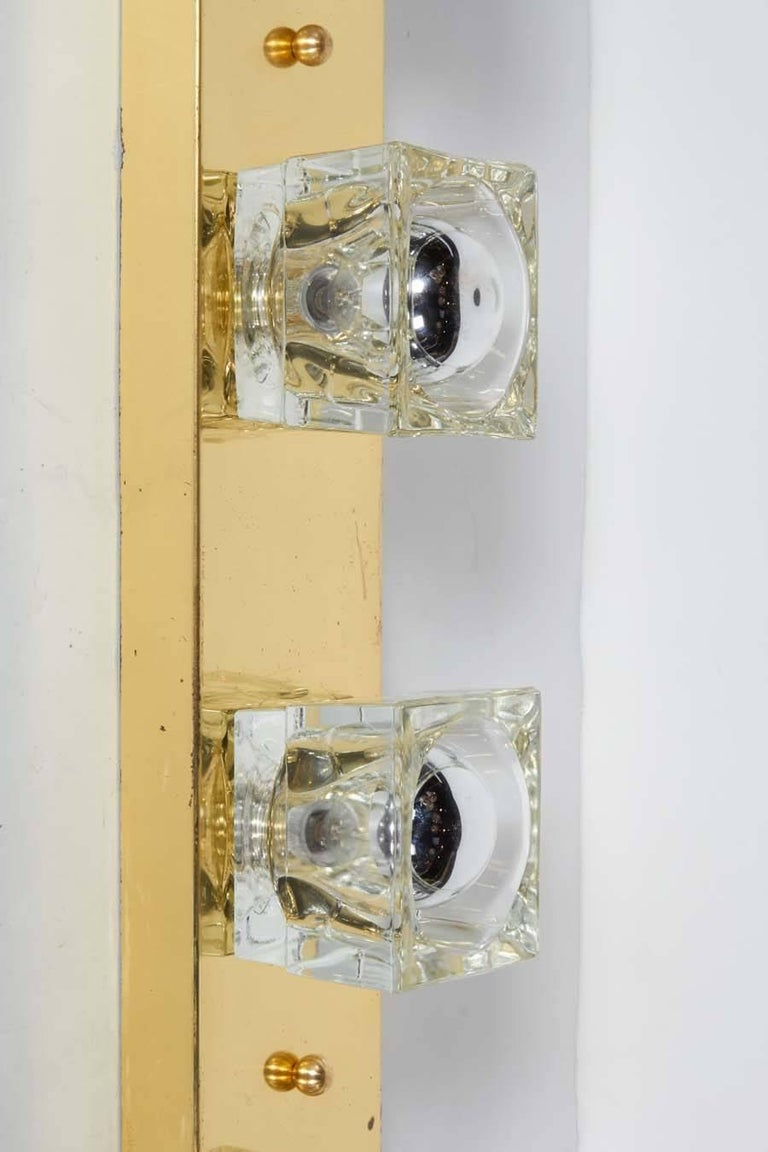Italian Cubist Glass and Brass Wall Sconce by Gaetano Sciolari for Lightolier For Sale
