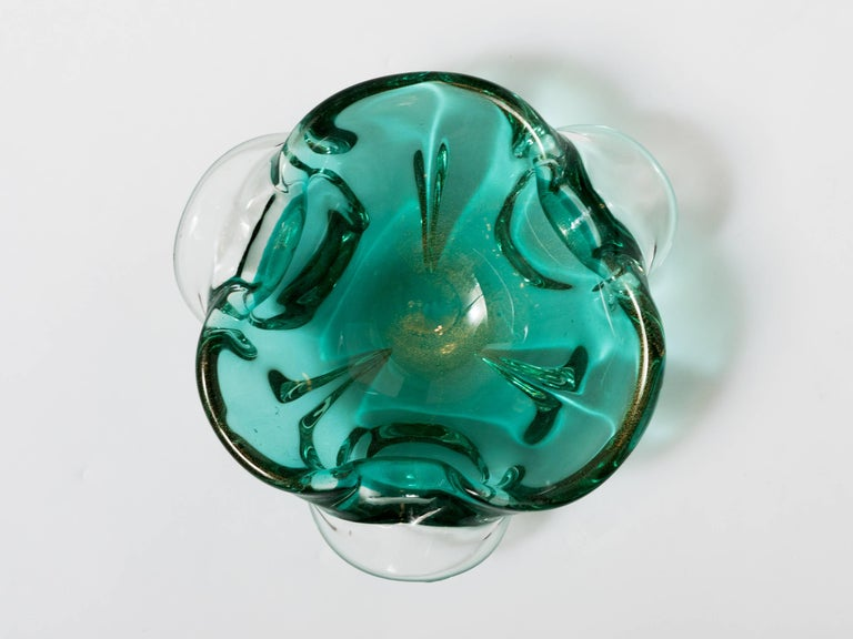 Murano Glass Seguso Mid-Century Modern Murano Bowl in Emerald Green For Sale