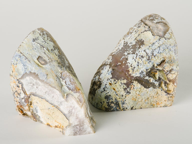 Pair of Large Silver Quartz Crystal Geode Bookends For Sale 2