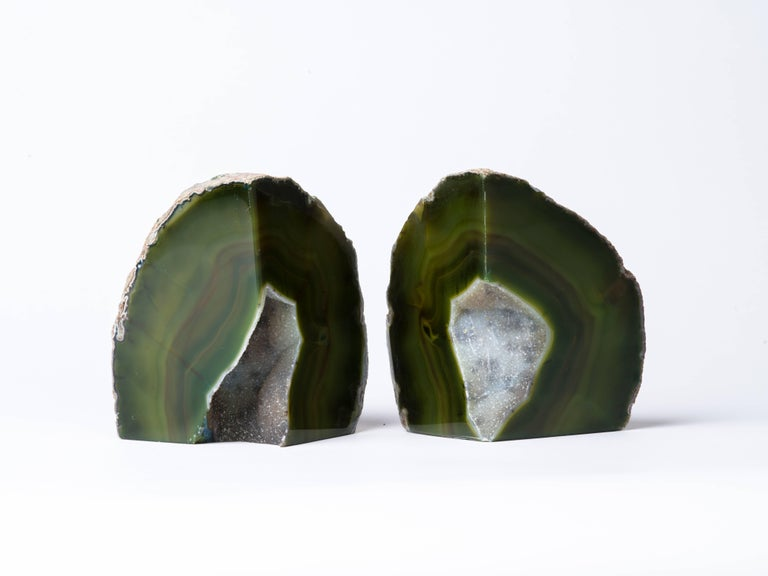 Contemporary Pair of Organic Modern Agate Stone and Crystal Bookends in Moss Green For Sale