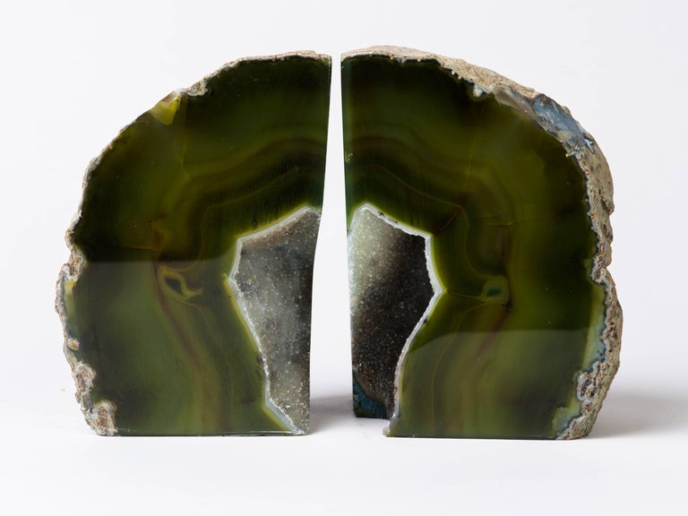 Pair of Organic Modern Agate Stone and Crystal Bookends in Moss Green For Sale 1