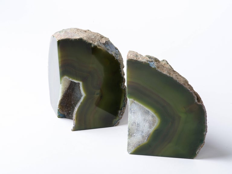 Pair of Organic Modern Agate Stone and Crystal Bookends in Moss Green For Sale 2