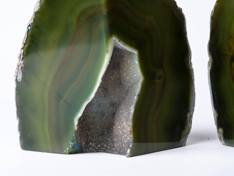 Pair of Organic Modern Agate Stone and Crystal Bookends in Moss Green For Sale 3
