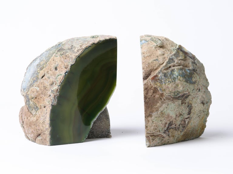 Pair of Organic Modern Agate Stone and Crystal Bookends in Moss Green For Sale 4