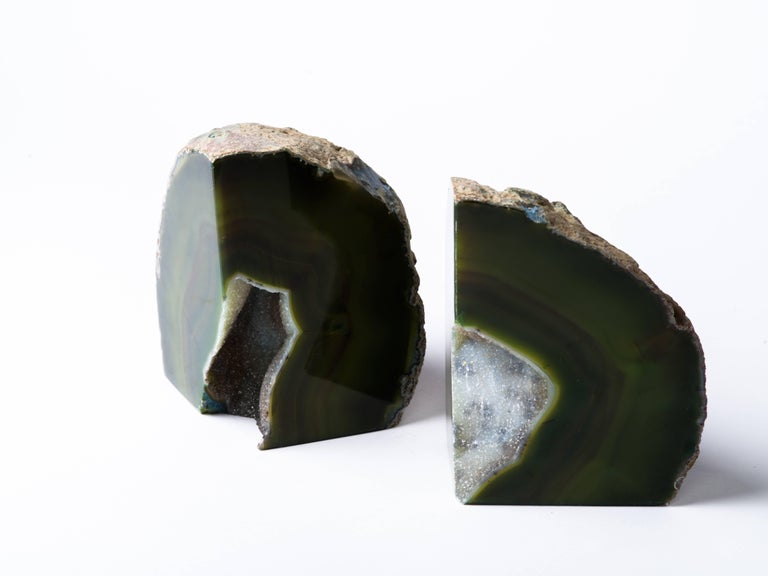 Pair of Organic Modern Agate Stone and Crystal Bookends in Moss Green For Sale 5