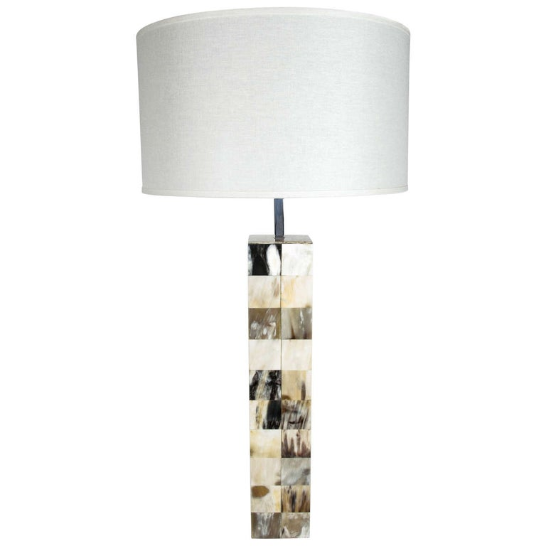 Mid-Century Modern Genuine Horn Mosaic Table Lamp For Sale