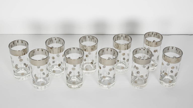 Mid-Century Modern Set of 10 Mid-Century Barware Glasses with Polka Dot Design by Dorothy Thorpe For Sale