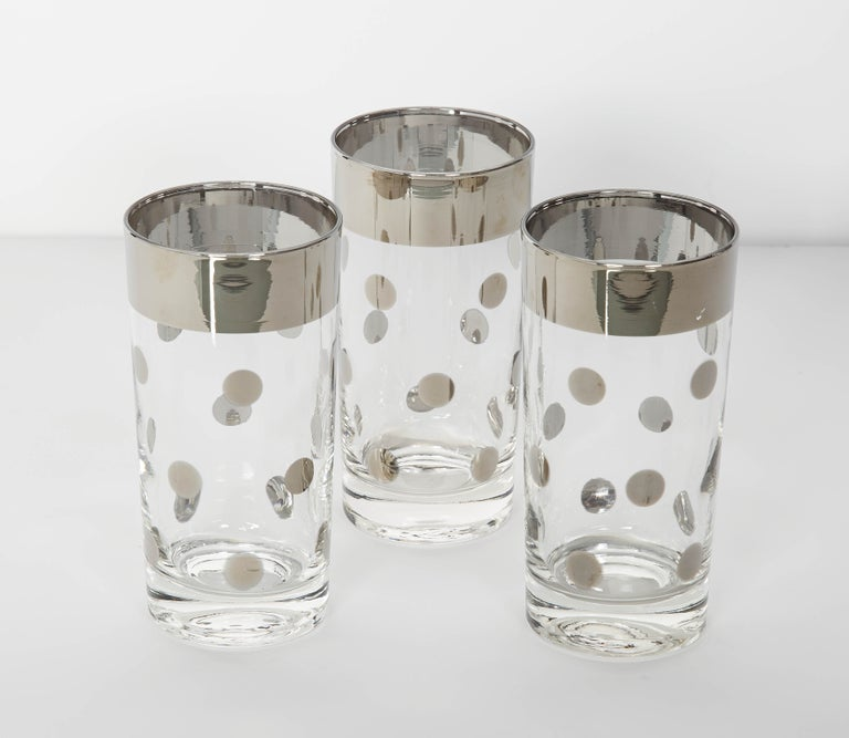 American Set of 10 Mid-Century Barware Glasses with Polka Dot Design by Dorothy Thorpe For Sale