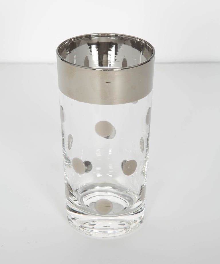 Set of 10 Mid-Century Barware Glasses with Polka Dot Design by Dorothy Thorpe In Good Condition For Sale In Stamford, CT