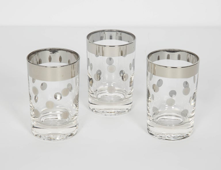 Mid-Century Modern Set of Vintage Liqueur Barware Glasses with Polka Dot Design by Dorothy Thorpe For Sale