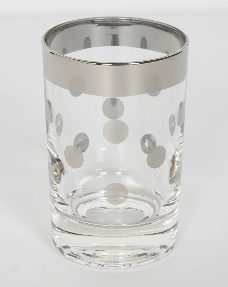 American Set of Vintage Liqueur Barware Glasses with Polka Dot Design by Dorothy Thorpe For Sale