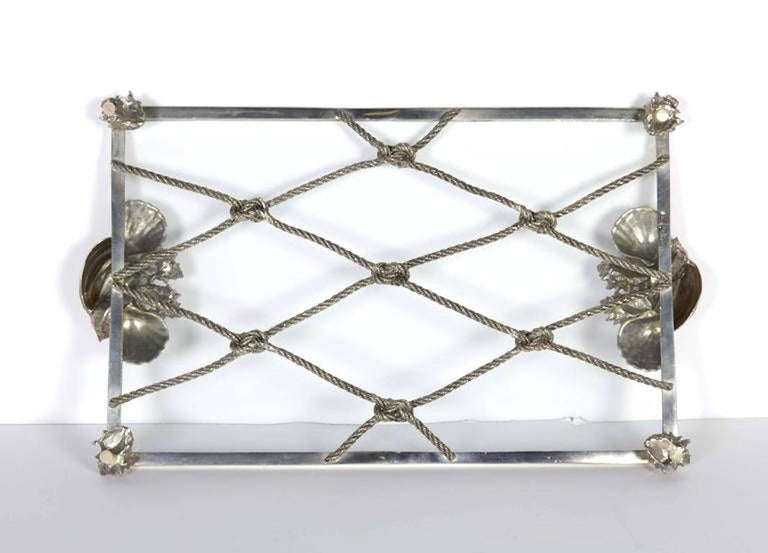 Vintage Nautical Theme Serving Tray in Hand Forged Pewter and Glass In Excellent Condition For Sale In Stamford, CT