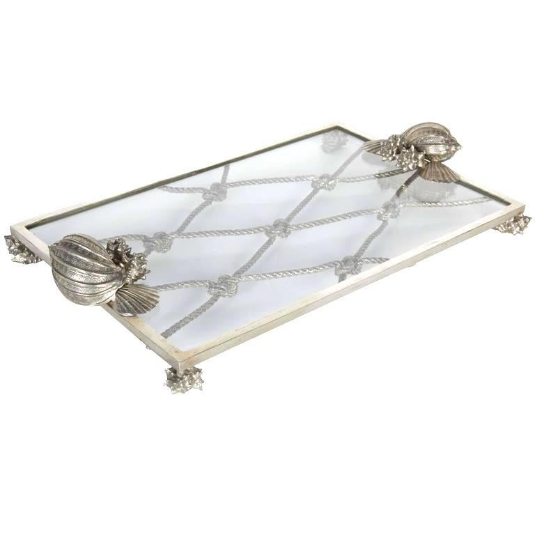Vintage Nautical Theme Serving Tray in Hand Forged Pewter and Glass For Sale