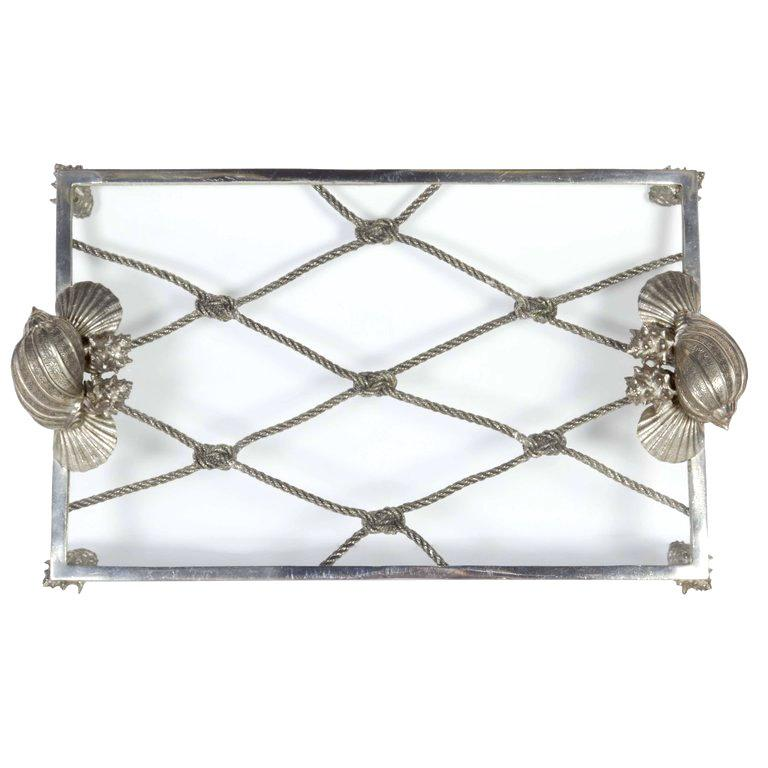 Elegant Renaissance Revival pewter and glass serving tray with organic nautical theme. All handcrafted and hand forged metal frame with glass top. Features sea shell and knotted rope motifs. Great addition to any barware set or dinnerware set.