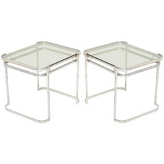 Pair of Italian 1970s Modern Side Tables in Chrome and Smoked Grey Glass