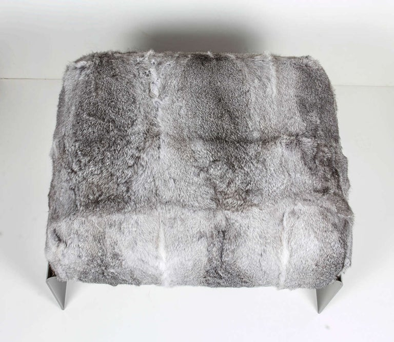 American Bespoke Luxury Ottoman or Stool in Lapin Fur and Black Chrome For Sale