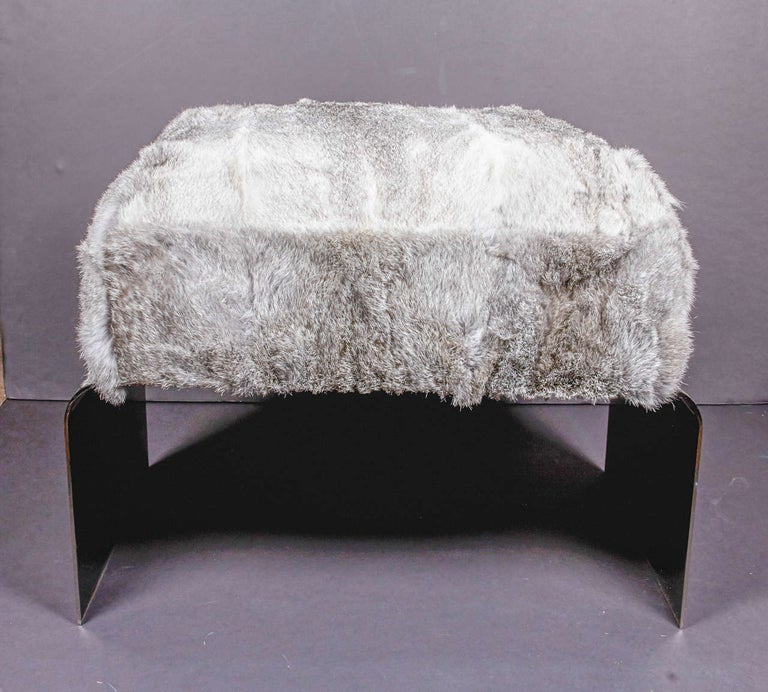 Contemporary Bespoke Luxury Ottoman or Stool in Lapin Fur and Black Chrome For Sale