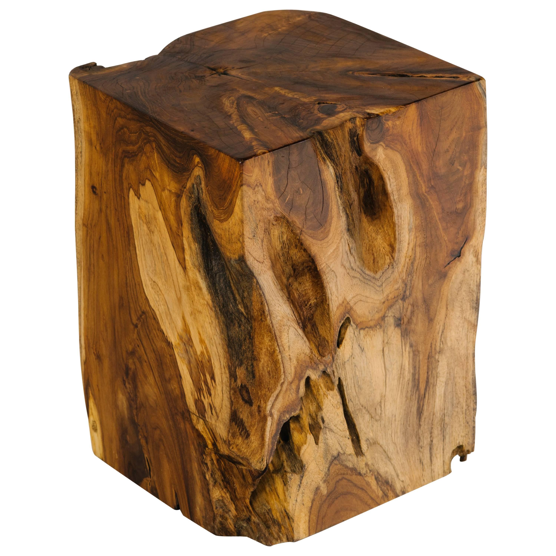 Organic Modern Indonesian Teak Wood Side Table Or Stool For Sale