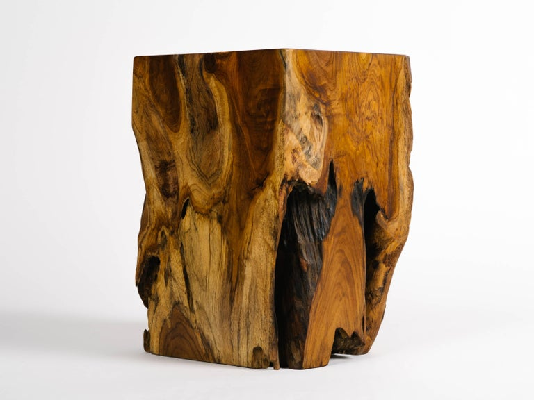 Organic Modern Indonesian Teak Wood Side Table or Stool For Sale 1