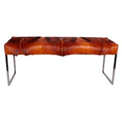 Bespoke Mid-Century Modern Style Bench in Burnt-Orange African Springbok Fur
