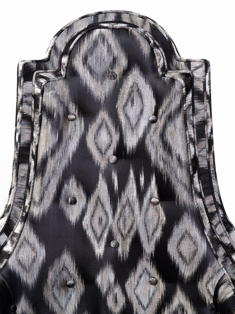 Pair of Hollywood Regency Lounge Chairs in Graphic Ikat Silk For Sale 5