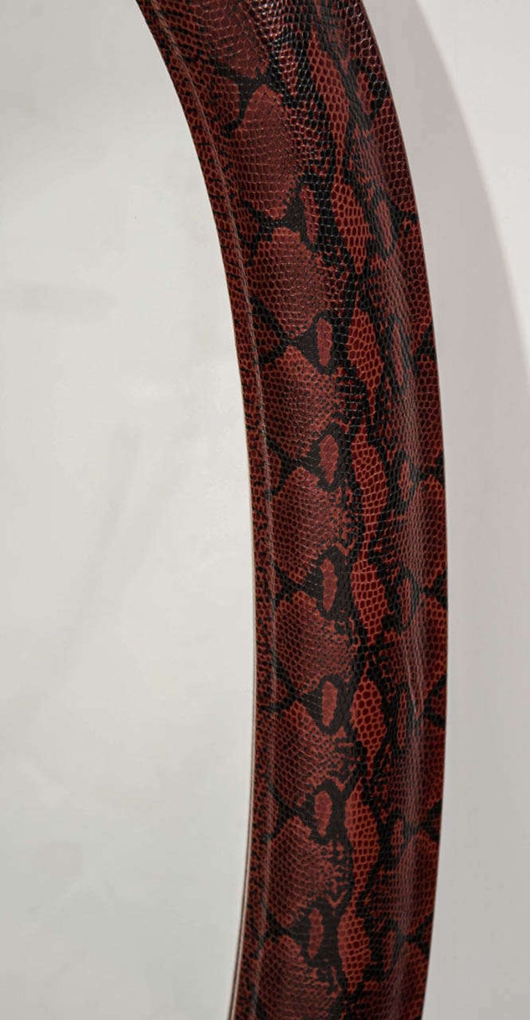 1970s Mid-Century Modern Red Python Embossed Leather Mirror In Excellent Condition For Sale In Stamford, CT