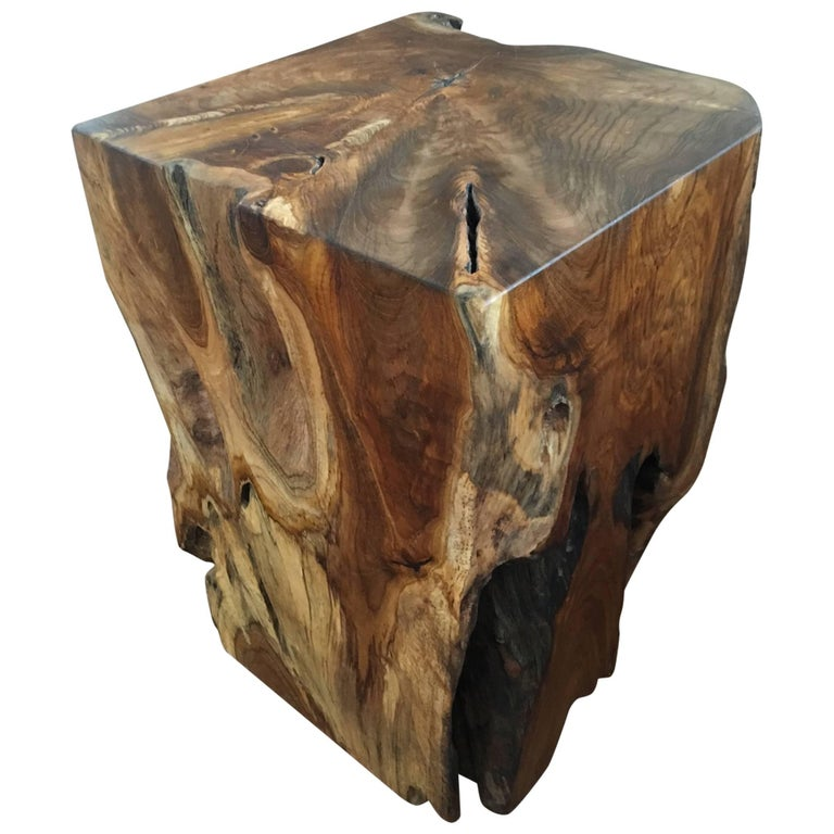 Organic Modern Indonesian Teak Wood Stool and Side Table For Sale