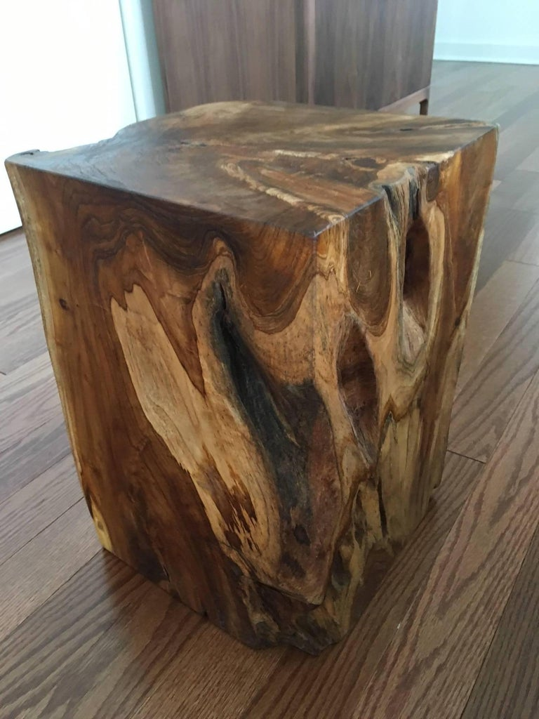 Organic modern cube side table or drink table made of reclaimed teak root wood from Indonesia. Gorgeous natural wood coloration and wood variations on all four sides.