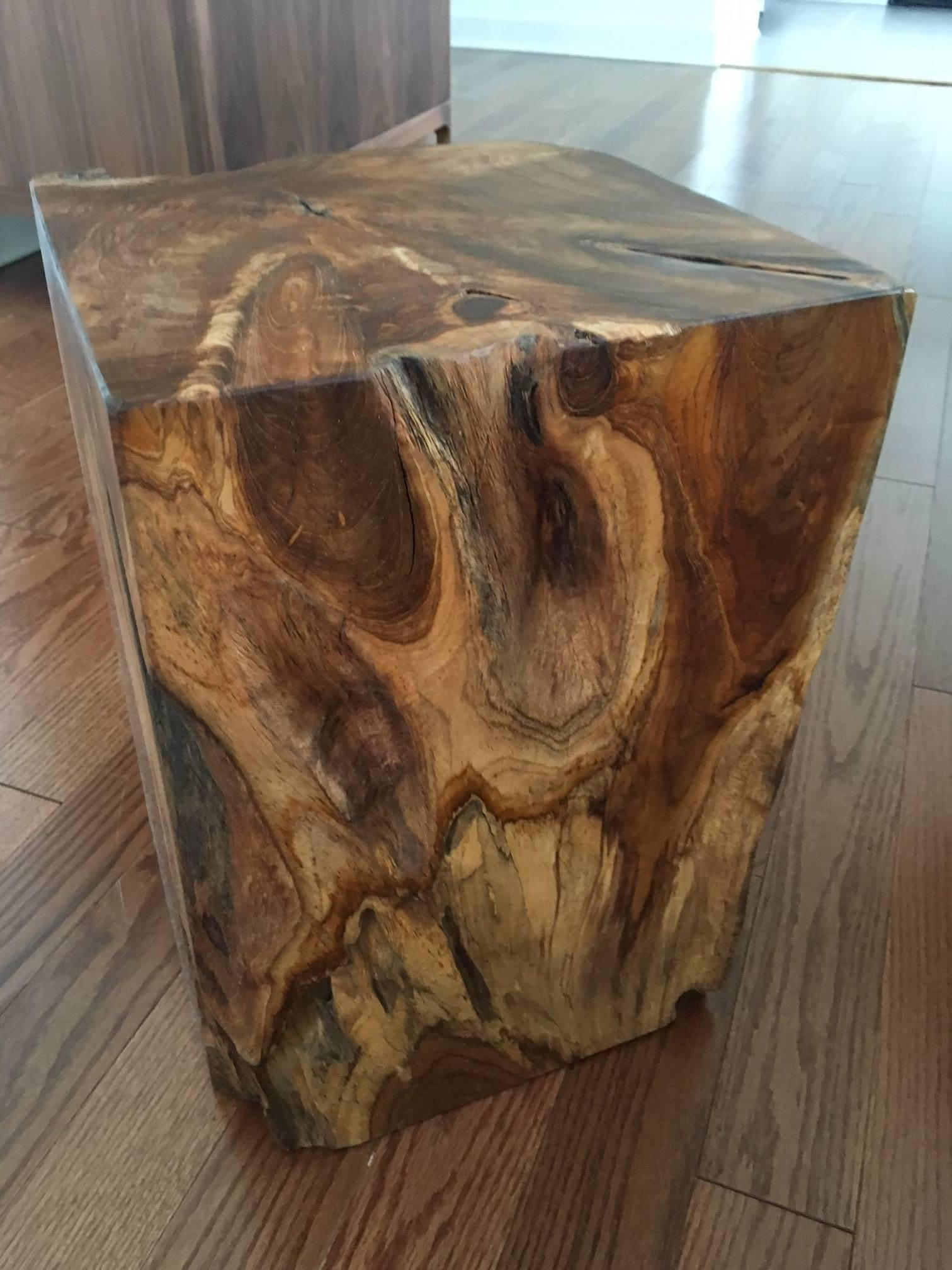 Organic Modern Indonesian Teak Wood Stool And Side Table In Excellent  Condition For Sale In Miami