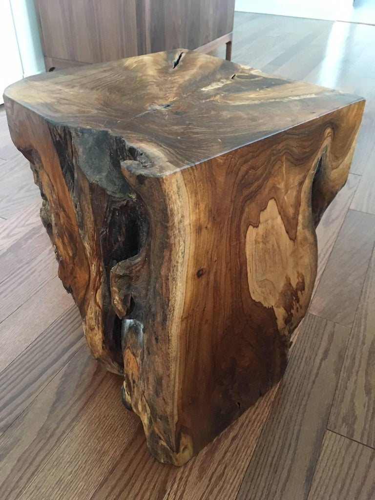 Contemporary Organic Modern Indonesian Teak Wood Stool and Side Table For Sale