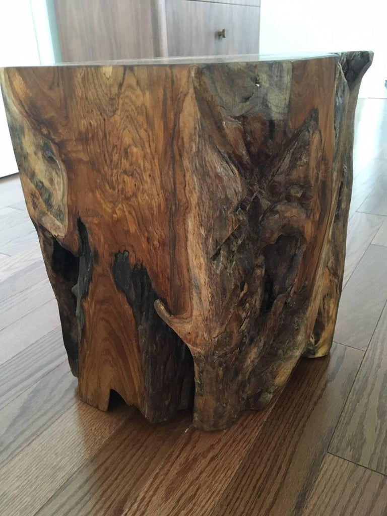 Organic Modern Indonesian Teak Wood Stool and Side Table For Sale 1
