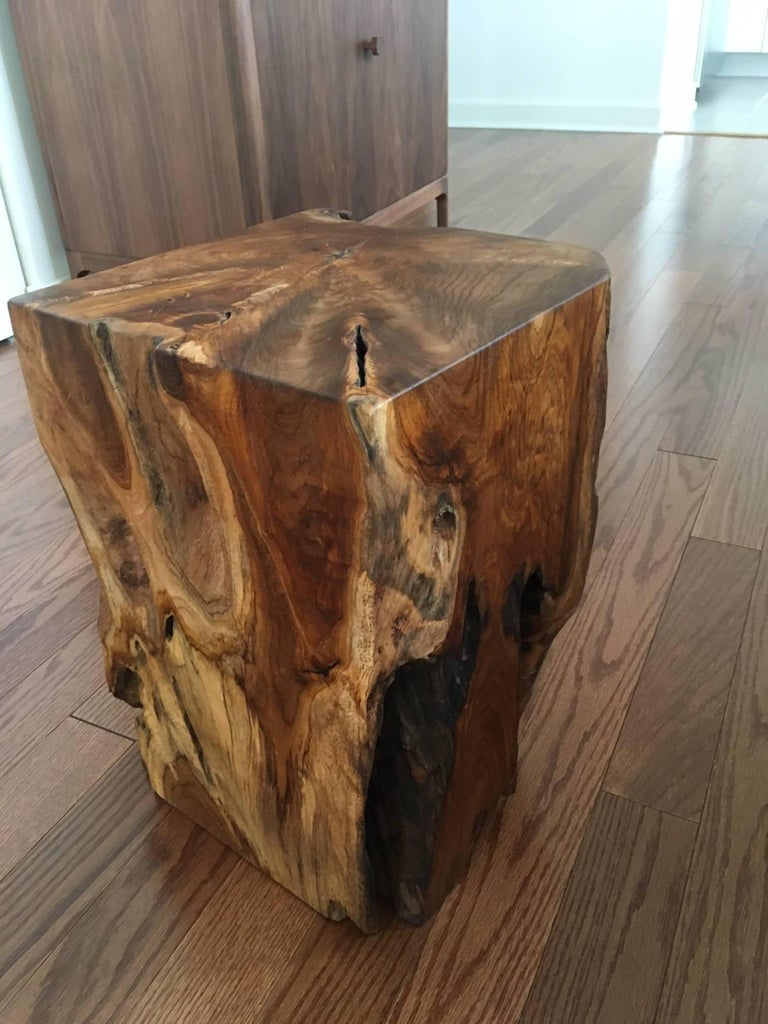 Organic Modern Indonesian Teak Wood Stool and Side Table For Sale 4