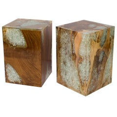 Organic Modern Teak Wood and Cracked Resin Side Tables
