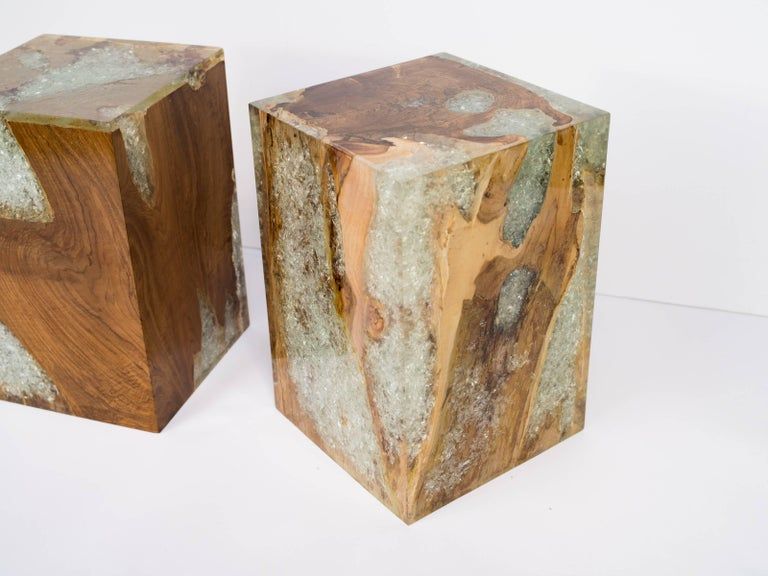 Indonesian Organic Modern Teak Wood and Cracked Resin Side Tables For Sale