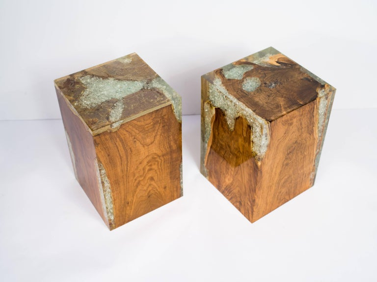 Organic Modern Teak Wood and Cracked Resin Side Tables For Sale 5