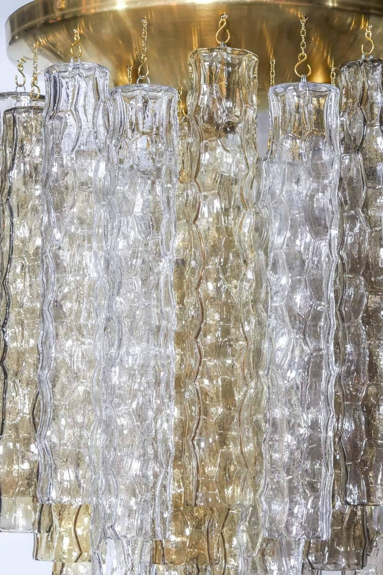 Italian Venini Mid-Century Modern Chandelier with Colored Murano Glass Pendants For Sale