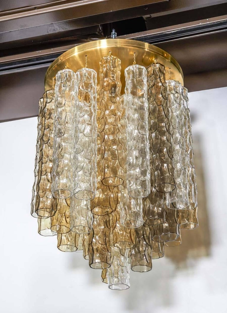 Brushed Venini Mid-Century Modern Chandelier with Colored Murano Glass Pendants For Sale
