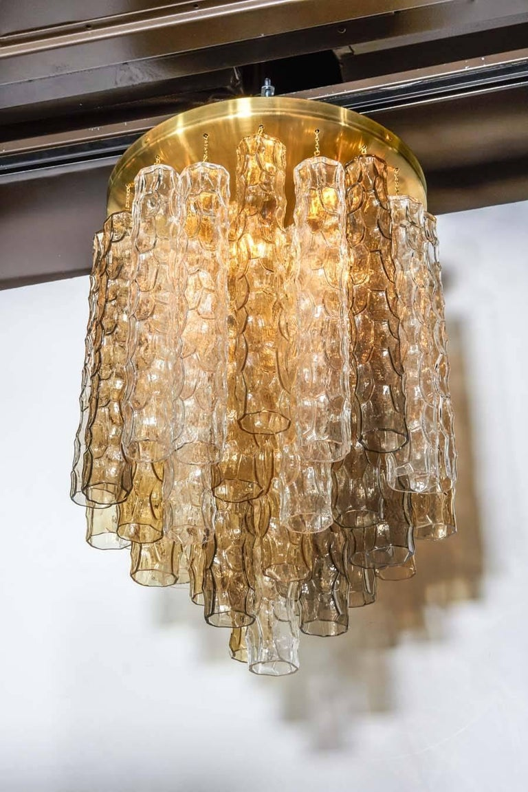 Late 20th Century Venini Mid-Century Modern Chandelier with Colored Murano Glass Pendants For Sale