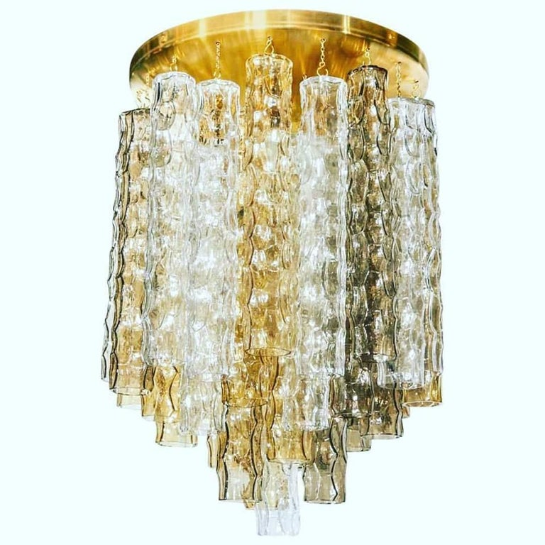 Venini Mid-Century Modern Chandelier with Colored Murano Glass Pendants For Sale 2